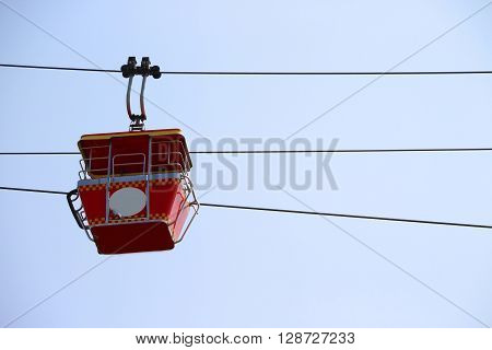 Cable car with blue sky background in Dreamworld Thailand