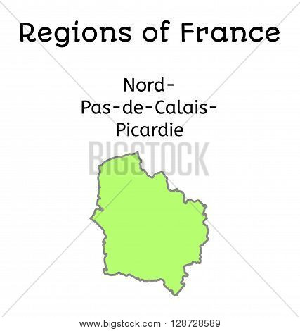 France administrative map of Nord-Pas-de-Calais-Picardy region on white poster