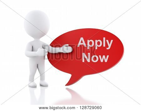 3d renderer image. White people with speech bubble that says Apply Now. Business concept. Isolated white background.