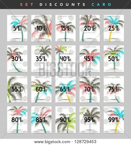 Set design discounts . Discounts price tag. Black Friday. Clearance Sale. Discount coupon. Sale discount. Discount from 5 to 99 . Discount with the design of a palm tree .