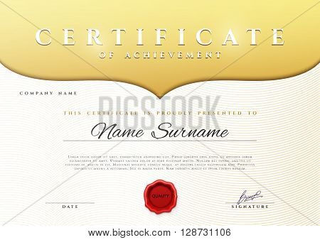 Design Certificate.  Certificate border. Certificate details gold pattern . Certificate Diploma . Certificate of achievement. White background with gold. Premium present certificate. Certificate frame