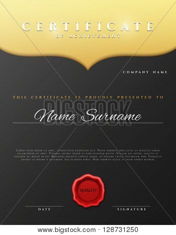 Design Certificate.  Certificate border. Certificate details gold pattern . Certificate Diploma . Certificate of achievement. Black background with gold. Premium present certificate. Certificate frame