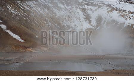 Gunnuhver Geothermal field at Reykjanes Peninsula in the island of Iceland poster