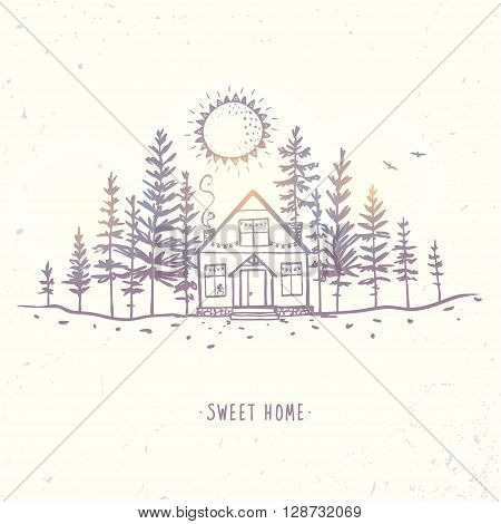 Beautiful sketch with house in a forest spruce. Hand drawn sketch. Stylish vector illustration