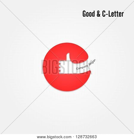 Good sign and C- letter icon abstract logo design.Hand symbol and C- letter alphabet vector design.Business and education creative logotype symbol.Vector illustration