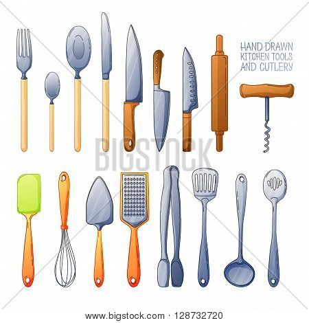 A set of cutlery. Cutlery spoon, fork, blender, knives. Cutlery for cooking. A set of cutlery for serving. Cartoon set of kitchen cutlery. Vector illustration