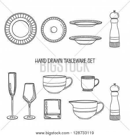 Kitchen utensil set. A set kitchenware. Kitchen utensils in hand drawn style. Kitchen dishes. Kitchen utensils for serving. Silhouettes of kitchen dishes. Vector illustration