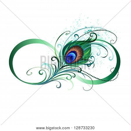 The symbol of infinity with a bright green artistic peacock feather on a white background. Tattoo style.
