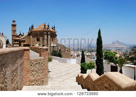 Rear view of Santa Maria church with the lovers mountain to the rear Antequera Malaga Province Andalucia Spain Western Europe.