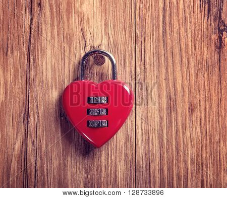 Combination lock with a red heart