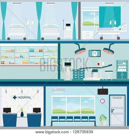 Info graphic of Medical hospital surgery operation room and post-operation ward interior building health care conceptual vector illustration.
