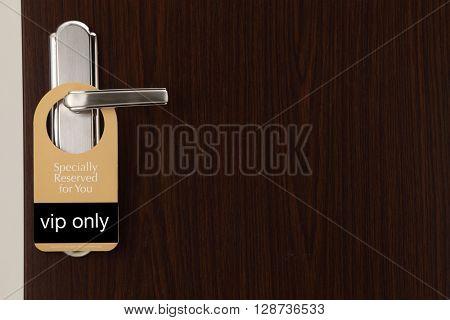special reserved door sign hang on the door handle