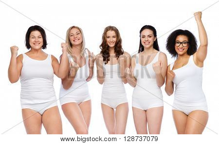 success, friendship, beauty, body positive and people concept - group of happy plus size women in white underwear celebrating victory
