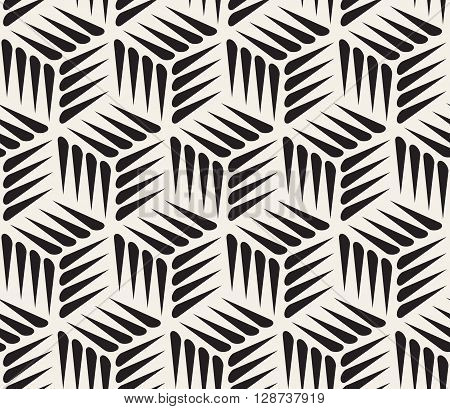 Vector Seamless Black and White Thorn Shape Cubic Geometric Pattern Abstract Background