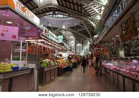 VALENCIA SPAIN - OCTOBER 07 2014: Mercado Central in Valencia Spain. Historic Mercado Central is one of the oldest markets in Europe