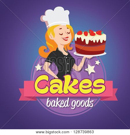 Vintage cartoon logo. Smiling woman dressed in a cook cap and with a strawberry cake with frosting.