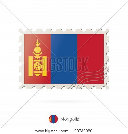 Postage Stamp With The Image Of Mongolia Flag.