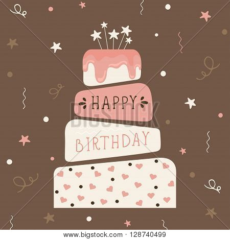 Cute happy birthday card with cake. Birthday cake. Vector calligraphic inscription «Happy birthday