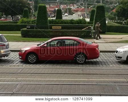 Red Skoda Octavia