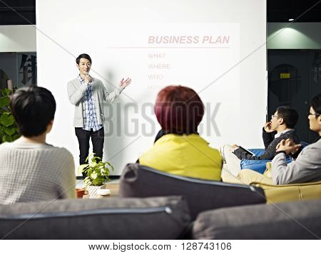 young asian entrepreneur presenting business plan for new project. poster