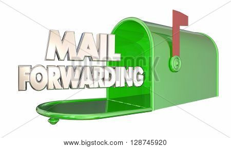 Mail Forwarding Moving Relocation Mailbox Words 3d Illustration poster