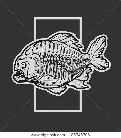 Skeleton piranha and a geometric element on a dark background.