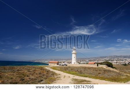 Panorama of old lighthouse near the city of New Paphos ,Cyprus,Mediterranean coast, Europe