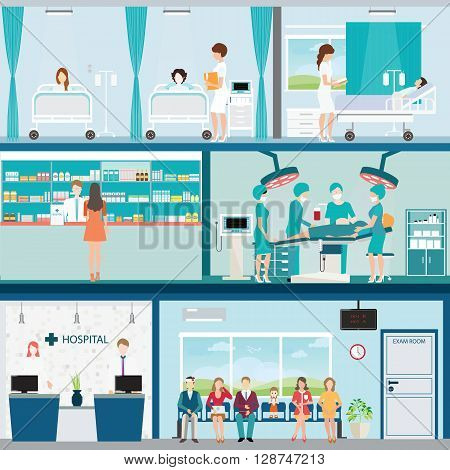 Info graphic of Medical hospital surgery operation room with doctors and patients and post-operation ward interior building health care conceptual vector illustration.