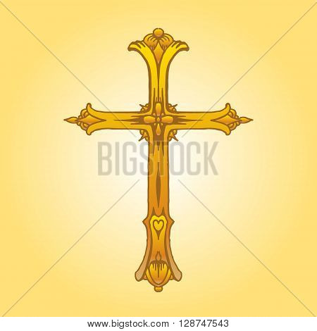 Religion cross icon. Hand drawn vector stock illustration