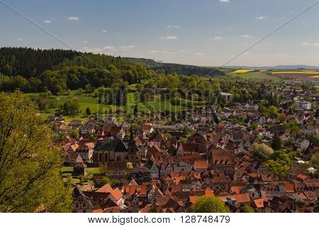 Panorama of the medival city of Buedingen Hesse Germany