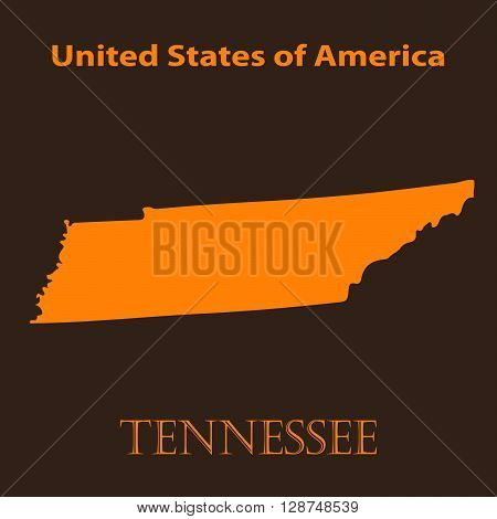 Orange Tennessee map - vector illustration. Simple flat map of Tennessee on a brown background.