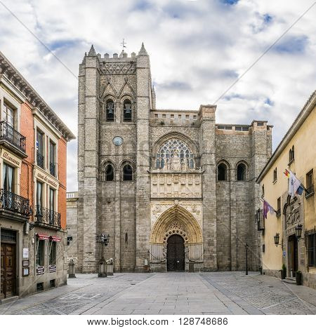 ÁVILA,SPAIN - APRIL 23,2016 - Cathedral El Salvador of Ávila. The Cathedral of Ávila is a Romanesque and Gothic church in Ávila