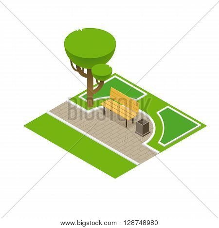 Vector illustration of a park bench with litter bin. Flat 3d isometric park bench isometric tree and isometric park elements. Park concept vector isometric