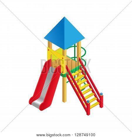 Vector illustration isometric playground slide. Playground childrens slide on white background. Flat 3d isometric high quality playground icon.