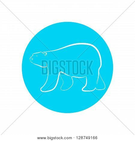 White polar bear in outline stile. Logo polar bear vector design. White bear on the blue circle. Vector illustration of silhouette polar bear