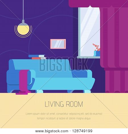 Vector illustration interior living room in the flat style. Interior furniture living room in blue tones. Stylish and modern interior. Web banner of living room for your design.