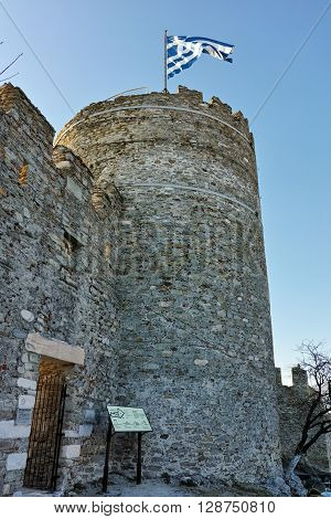 Tower of the Byzantine castle in Kavala, East Macedonia and Thrace, Greece poster