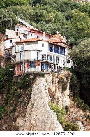 The monastic monastery located a ledge of Athos mountains. Greece ** Note: Soft Focus at 100%, best at smaller sizes