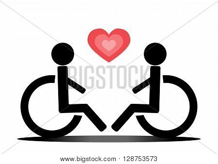 Love wheelchair users and heart. Schematic image sketch. Two people. Red and black. Abstract.