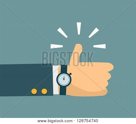 Thump up vector sign in flat style. Eps 10 vector
