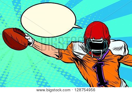 American football athlete ball goal pop art retro style. Retro sport. Sports game. The American football championship. Football Cup. League