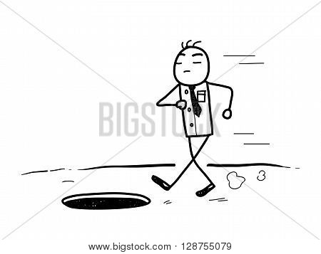 Arrogance Doodle, a hand drawn vector doodle illustration of an arrogant businessman about to meet his fall.