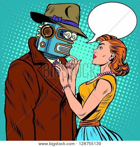 girl and robot artificial intelligence fiction pop art retro style. Unusual pair of lovers. Valentine day