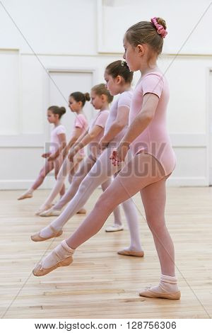Group Of Young Girls In Ballet Dancing Class