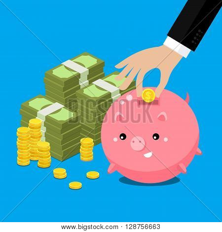 Keep money concept. Cute fat piggy bank with hand collecting money. Flat vector illustration.
