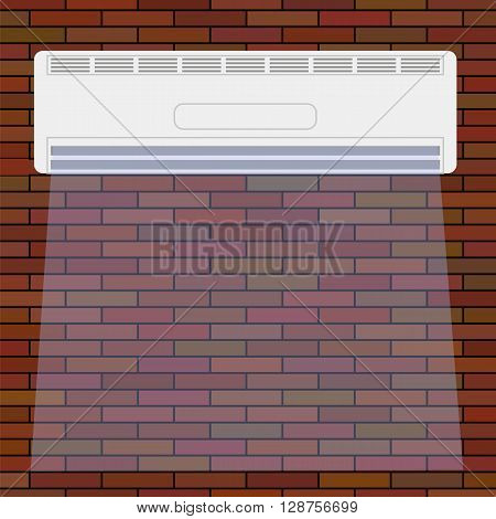 Wall-mounted Air Conditioner Icon. Air Purifier. Air Conditioner on the Red Brick Wall.