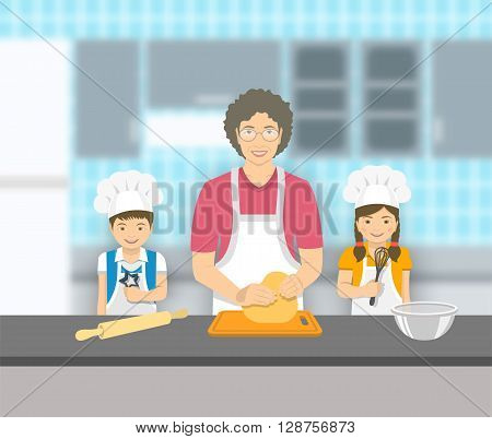 Grandmother and kids bake together at a kitchen. Granny kneads pastry happy grandson and granddaughter help her. Asian family baking home cookies pie or cake. Vector flat illustration.
