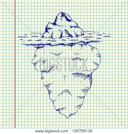 Iceberg under water. Hand drawn stock illustration