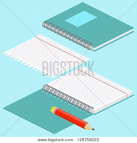 Isometric Illustration On A Blue Background With The Image Of Notebook, Pencil, Open Spiral Notebook