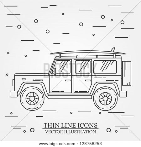 Travel Car Family Camper With Surf Board Thin Line. Traveler Truck Car Outline Icon. Travel Car Grey